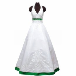 Courting Dress UK - Customized Halter Neck Satin White Wedding Dresses A-line beaded Green Women Bridal Gowns 2019 Wowdress
