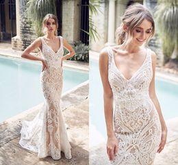 Making tulle dress online shopping - 2019 Champagne Mermaid Wedding Dress Sexy Lace Bohemian Beach Boho V Neck Bohemian Bridal Gown Custom Made