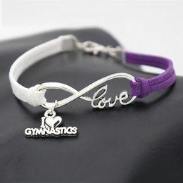 $enCountryForm.capitalKeyWord Australia - Silver Plated Infinity Love Gymnastics Sport Pendant Bracelet Bangles Pulsera For Women Men Handmade White Purple Leather Suede Rope Jewelry
