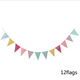 Discount theme party supplies wholesale - Jute Triangle Flag Burlap Banner DIY Decoration for booth Birthday Graduation Country Wedding Baby Camping Theme Party D