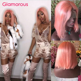 Human Hair Pink Color Australia - Pink Color Lace Front Human Hair Wigs With Baby Hair Pre Plucked Brazilian Pink Straight Lace Front Bob Wig Remy Hair Wigs