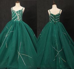 Toddler Special Occasion Australia - Bling Emerald Green Girls Pageant Dresses 2019 Crystal Beaded Sequins Spaghetti Open Back Ball Gown Party Dress Teens Special Occasion Dress