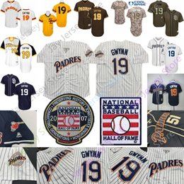 Tony gwynn baseball online shopping - Tony Gwynn Jersey San Diego Hall Of Fame Padres Cooperstowm Coffee White Pinstripe Pullover White Blue Home Away