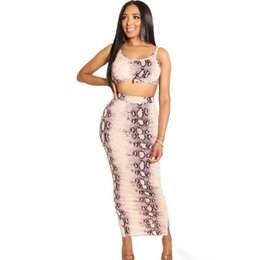 $enCountryForm.capitalKeyWord NZ - Snake Skin Print Sexy Two Piece Set O Neck Sleeveless Crop Top And Bandage Mid-Calf Dress Sweatsuits Summer Clothes For Women