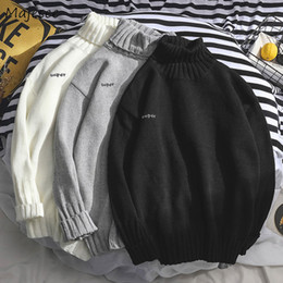 Men siMple winter clothes online shopping - Sweaters Men Turtleneck Simple All match Soft Warm Winter Daily Korean Style Knitting Sweater Mens Harajuku Leisure Clothing New