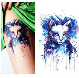 a46e3f605 Beautiful Blue Cat High Quality Decals Body Art Decal Waterproof Paper temporary  tattoos stickers 21x15cm#30