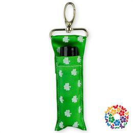 Flat hooks online shopping - Clover Lipstick Pocket Green Wave Point Chapstick Holder Metal Hook Ribbon Bag Multi Color Portable Solid Hot Sale rhb1