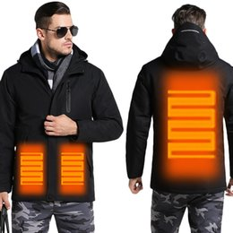 Waterproof Parka Men Australia - Men's Winter USB Heating Jacket Men Waterproof Reflective Hooded Coat Male Warm Parka Cotton Windbreaker Mens Rain Jackets AM354
