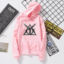 Woman Fans Australia - Deathly Hallows Sweatshirt Harry Style Hoodies Women Potter Hipster Tops Angle Wings Hooded Fans Pullovers Tumblr Jumper