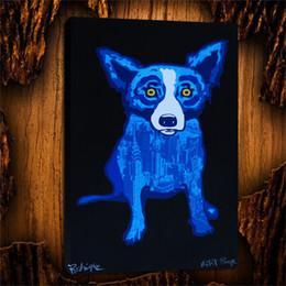 $enCountryForm.capitalKeyWord Australia - Blue Dogs City Slicker,1 Pieces Canvas Prints Wall Art Oil Painting Home Decor (Unframed Framed) 24X36.