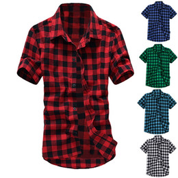 blue red checkered shirt Australia - Heflashor Plaid Checkered Shirt Men Summer Nice Short Sleeve Hawaiian Shirts Chemise Homme Casual Mens Dress Shirt Blousen Black