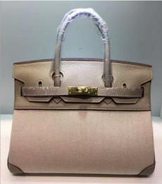 $enCountryForm.capitalKeyWord NZ - 2018 25CM 30CM Big Brand Designer Two-tone Totes bags luxury women Genuine leather Canvas Shoulder Bags Fashion lady Handbag Real Image