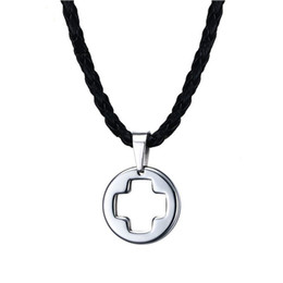 $enCountryForm.capitalKeyWord Australia - Steel Color Fashion Men's Leather Cross Pendant Necklace Stainless Steel Link Chain Necklace Jewelry Gift for Men Boys J750