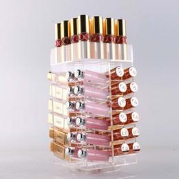 Toy Display Cases Australia - Rotating Acrylic Makeup Organizer Storage Case Lipstick Holder Boxes Lip Gloss Display