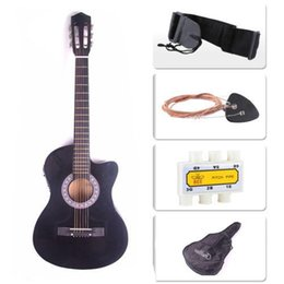 black guitar strap Canada - Electric Acoustic Guitar Cutaway Design With Guitar Case, Strap Black New