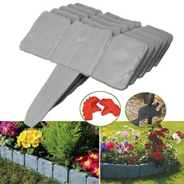 flower garden edging NZ - 10pcs Flower Fence-Path Garden Plant Border Edging Lawn Imitation Stone Fence Grounding Fence Folding Landscape Gray Orange
