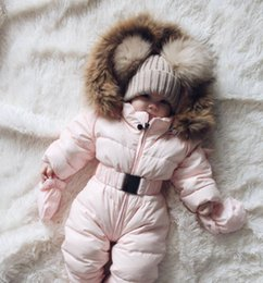 Discount overalls suit girls - Warm Duck Down Baby Winter Romper Suit Thick Cotton Climbing Clothes Fur overall for Kid Girl Children Winter Jumpsuit S