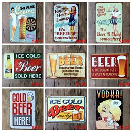 Bar Paintings Australia - 500Design Retro Bar Plate Metal different themes beer warning Sexy Belle Vintage Craft Tin Sign Retro Metal Painting Poster Bar Pub Wall Art