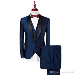 $enCountryForm.capitalKeyWord UK - Navy Blue Formal Wedding Groomsmen Tuxedos 2018 Three Piece Shawl Lapel Custom Made Business Men Suits (Jacket + Pants + Vest )