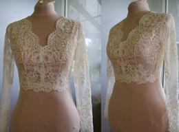 Make Half Sleeve Jacket Australia - High Quality Long Sleeves Wedding Bolero Jacket Lace Ivory V-Neck Custom Made Sheer Wedding Wraps Shrugs Buttons Back Bridal Stole
