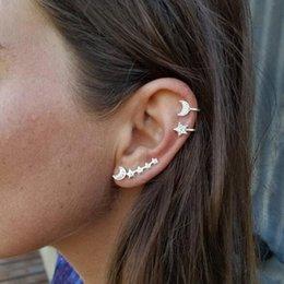 $enCountryForm.capitalKeyWord Australia - E0501 Fashion Moon Star Shaped Clip Earrings For Women Gold Silver Color Cute Female Ear bone clip Jewelry Hot Sale
