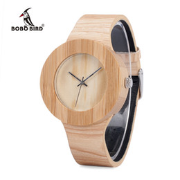 japan movement wood watches Australia - BOBO BIRD Cylinder Bamboo Wooden Wristwatch Mens Round Wood Design Japan 2035 Movement Quartz Watch with PU strap in Gift Box BOBO