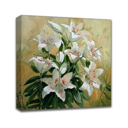 $enCountryForm.capitalKeyWord Australia - Hand Painted Oil Painting Impressionist Floral Lily Picture framed On Linen Canvas Wall Art Living Room Bedroom Hallway Wall Decor