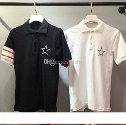 men white polo striped Australia - fashion designer clothing give for men red white striped sleeve patchwork star print polo t-shirt turn-down collar casual tshirt