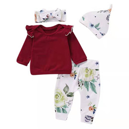 $enCountryForm.capitalKeyWord NZ - 2019 baby girls Autumn Cotton Suits kids infant clothing with Flying Sleeves long sleeves + trousers + printed HAT + headscarf 4PCS 3colors