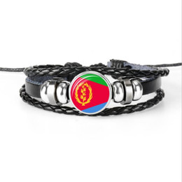 men adjustable beaded bracelets UK - Adjustable Genuine Leather Rope Beaded DIY Bracelets For Women Men Glass Cabochon Eritrea National Flag World Cup Football Fan Jewelry Gifts