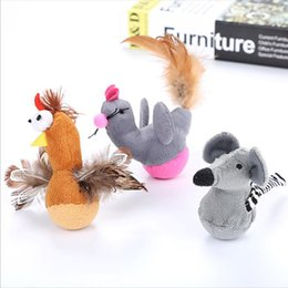$enCountryForm.capitalKeyWord NZ - Pet Cat Toy Mouse Chick With Feathers Pet Supplies Tumbler Plush Toy Cute Animals