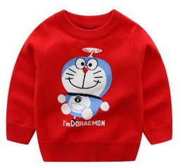 Boys'pure cotton knitted sweater for children in autumn and winter New Kids' Fat Cat Jacquard Double Thickened Sweater
