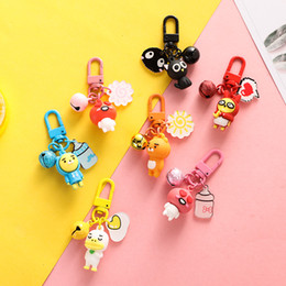 $enCountryForm.capitalKeyWord Australia - 3D Figure Cat Duck Bear Peach Keychain Summer Metal Bell Key chain For Women Car Key Chains Rings Bag Pendant Charms