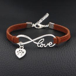 $enCountryForm.capitalKeyWord Australia - Vintage Dark Brown Leather Suede Bracelet Woman Men Fashion Braided Handmade Infinity Love Dog Paw Print Heart Wrap Bangles Female Male Gift