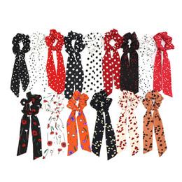Zebra print fashion online shopping - 22 styles Fashion Wave Point Print Scrunchie hair scarf Elastic hairband Bow Hair Rubber Ropes Girls hair Ties accessories FJY775