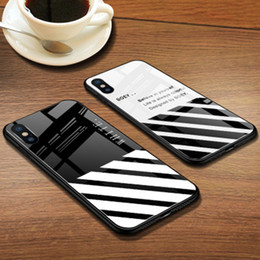 strips for glasses Australia - Luxury WHITE phone case For iPhone XS Max XR 6 6S Plus 7 8 Plus X High Glass Capa OFF Trends diagonal strip Cover