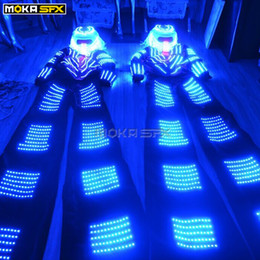 Discount robot suit costume LED Clothing light suits led robot dancer costume helmet glowing stilts led clothes Men suits for DJ bar nightclub stage