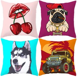 $enCountryForm.capitalKeyWord Australia - Sexy Lip Cherry Cushion Covers 12 Styles Watercolor Painting Animal Cat Pug Dog Baby Kids Sofa Room Decor Pillow Cases 44X44cm