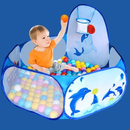 Quality In Cartoon Dolphin Pattern Baby Ball Pit Foldable Washable Toy Pool Children Hexagon Ocean Game Play Tent House Baby Playing Pool Superior