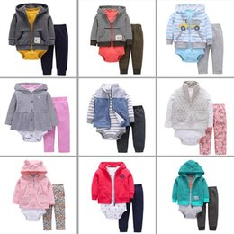$enCountryForm.capitalKeyWord Canada - Newest High Quality Hooded 3pcs One set High Quality Cotton Boys Rompers Toddler Infant Newborn Jumpsuits Children Girls Hoodies