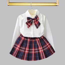 Girls Fashion White Skirt NZ - 2019 new Fashion Preppy Style Girls Outfits white Bows bow tie Shirt+pleated skirt Kids Designer Clothes Girls sets kids clothing A2690