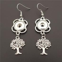Discount noosa snap earrings - Alloy Small Life Of Tree Earring Metal 12mm Snap Buttons Socket Earrings Female Girls Noosa Chunks Jewelry