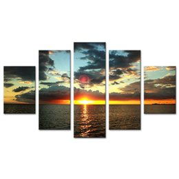Sunset Seascape Paintings Australia - Sunset Seaview Canvas Prints Wall Art 5 Panels Seascape Painting Seaside Picture Prints on Canvas Artwork Modern Home Living Room Decor