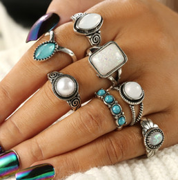 $enCountryForm.capitalKeyWord NZ - 7PCS Set 2019 New Style Women Lady Vintage Water Drop Turquoise Ring Boho Hippie Silver Ring Gothic Rings Set Tribal