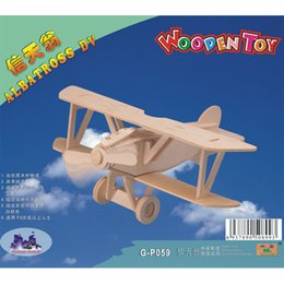 Toy 3d Helicopter Australia - Free shipping--Aircraft Fighters Planes Helicopters Wooden Jigsaw 3D Simulation Model DIY Stereo Jigsaw Puzzle Kid's Unisex Hand Puzzle ToyS