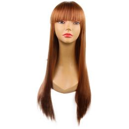 $enCountryForm.capitalKeyWord UK - Korean style Hot selling Flaxseed yellow cartoon cosplay 26 inch long straight fashion fringe bangs wigs