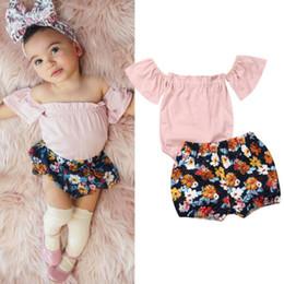 Brand Flower Australia - Brand Kid Baby Girl Off Shoulder Short Sleeve Tops Bodysuit+Flower Shorts Pants 2Pcs Baby Clothing Outfit Set Summer New