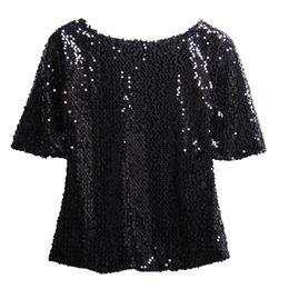 $enCountryForm.capitalKeyWord Australia - Glistening Sequins Tshirts Fashion Women Summer Unique Design Solid Tops Half Sleeve Blusas Ladies Tops T-shirt