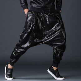 eb5eb79213f PU 2019 Fashion washed faux leather harem pants mens baggy street dance male  hip hop casual Jogger elastic waist Slacks Trousers
