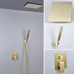 contemporary metal wall Australia - Bathroom Rainfall Shower Kit 200 250 300 mm Golden Color Ceiling Mounted Overhead ShowerHead Set 2 Way Conceal In Wall Shower